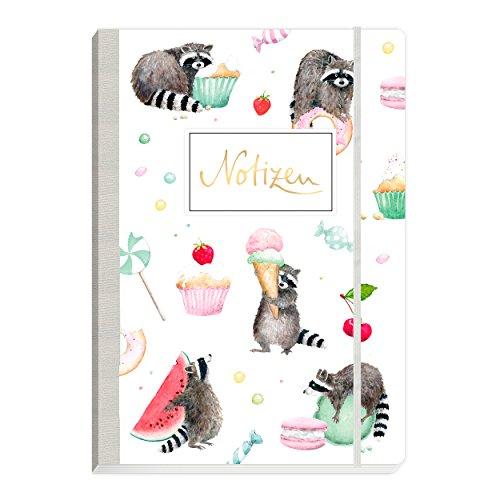 Notitzheft, Notizbuch gebunden mit Gummiband, 160 Seiten, mit Waschbären, Melone, Eis und Muffings auf dem Cover, Soft cover, bunt, grün, türkis, mint