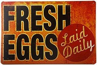 dingleiever-TIN Sign Fresh Eggs LD Metal Decor Art Chicken Coop Kitchen Cottage Farm