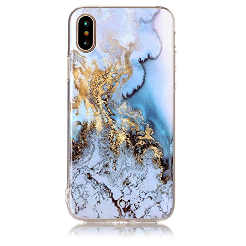 COZY HUT Custodia per iPhone X/iPhone XS, Premium Marmo Modello Morbido TPU Custodie Protettivo Bumper Flessibile Silicone Gel Ultra Sottile Cover per iPhone X/iPhone XS - Marmo Blu Marmo