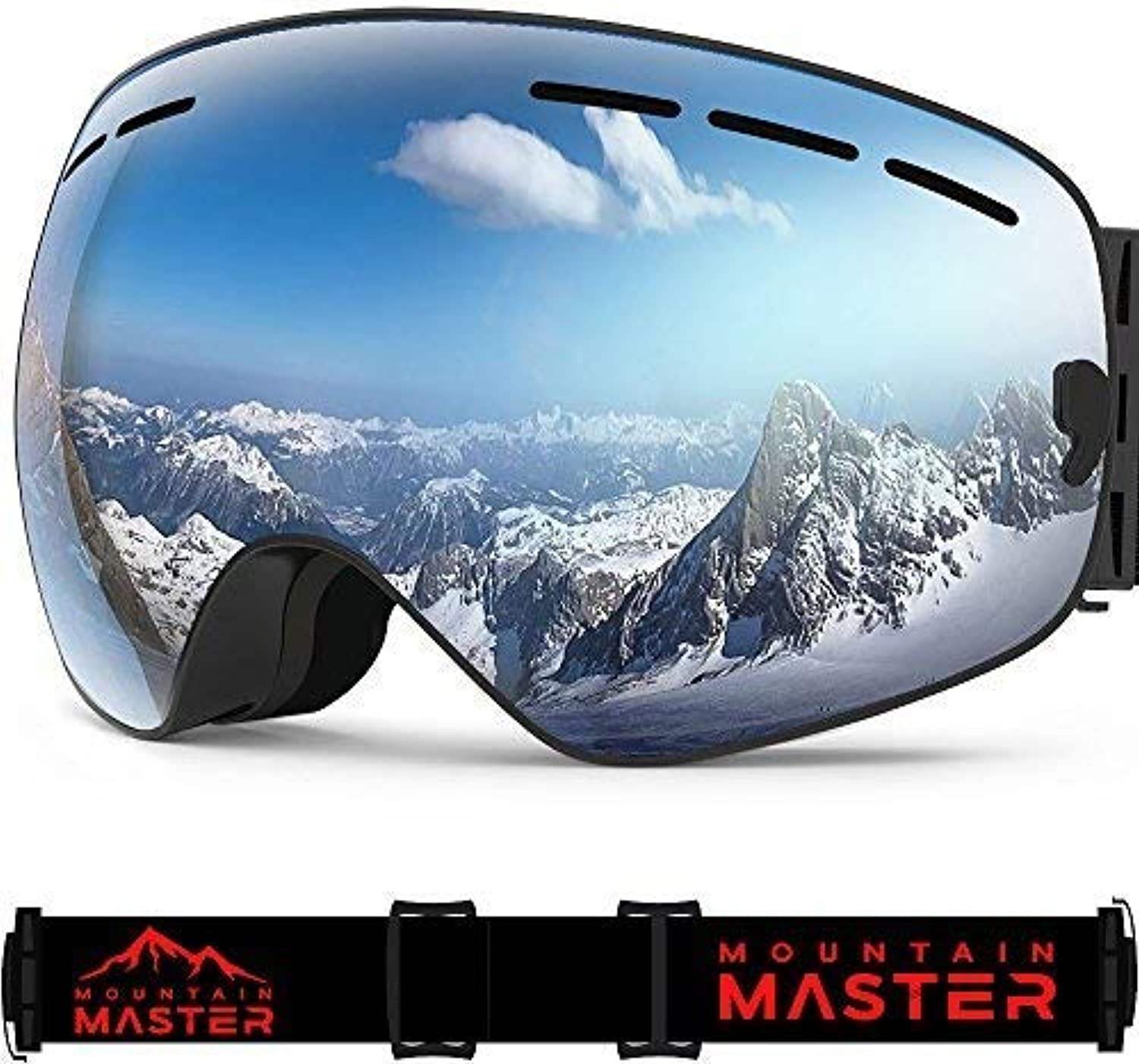 Ski Goggles For Men and Women, Anti-fog UV Predection Spherical REVO Mirror Lens  with Over Glasses OTG For Skiing Goggles and Snowboard By Mountain Master