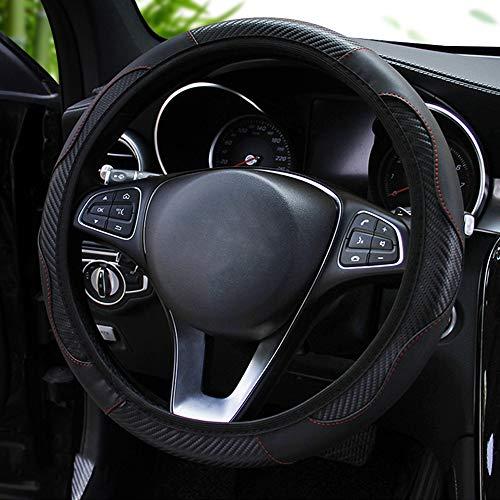 Funda para volante de coche, antideslizante, de carbono, de piel sintética de poliuretano, adecuada para 37-38 cm, accesorio interior transpirable