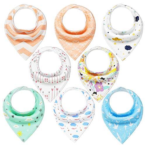 Dreieckstuch Baby 8er Halstücher Saugfähig Weich Spucktuch Baumwolle mit Druckknöpfen für Jungen und Mädchen YOOFOSS
