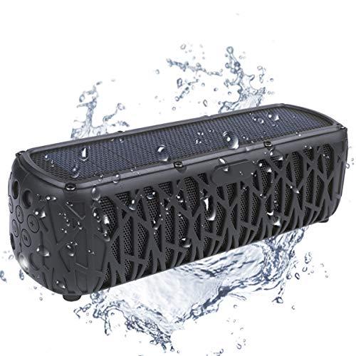 Bluetooth Lautsprecher Wasserdicht, 60 Stunden Spielzeit, ABFOCE T61 Solar Lautsprecher IPX6 5000mAh, mit Taschenlampe Tragbarer drahtloser Lautsprecher für Outdoor Camping Reisen Wandern Dusche Party