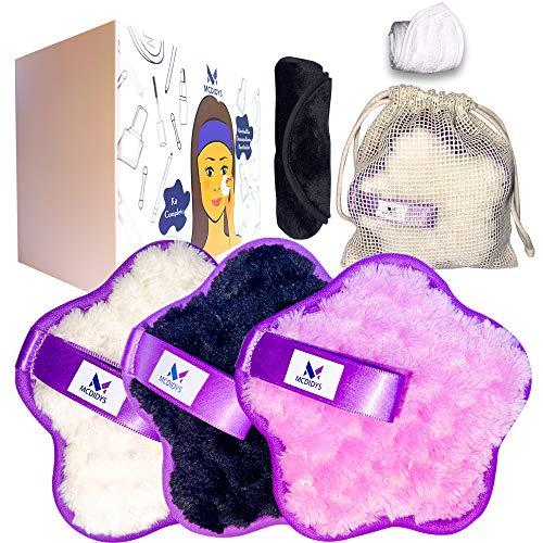 Discos Desmaquillantes Reutilizables + Toallita de Microfibra con Diadema Spa | Algodones Desmaquillantes Ecológicos | Kit Almohadillas Suaves y Lavables | Todo tipo piel | Incluye Bolsa de Lavanderia