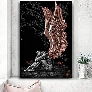 yiyiyaya Cuadros Modernos Ángeles y Demonios alas de Personaje Gris cráneo HD Cuadros e Impresiones de lienzos Cuadros Imagen de Arte de Pared para decoración de Sala de Estar 60X90cm Unframed