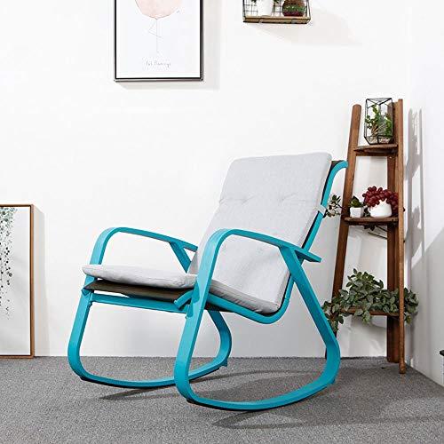 YLCJ Lazy Siesta Chair Schaukelstuhl Lehnstuhl Klappstuhl Balkonstuhl Gartenstuhl Indoor Outdoor Freizeitstuhl Faltbar (Farbe: Blau + Kissen)