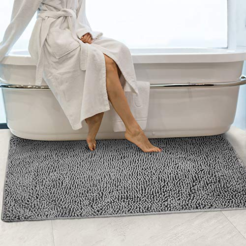 Secura Housewares Soft Microfiber Bathroom Rugs, 47 x 28 Inches Non Slip Bath Mat for Door, Bathroom & Bedroom with Water Absorbent, Machine Washable (Gray)