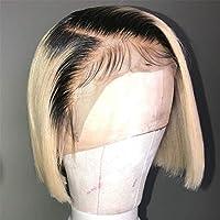 レースストレートヘアかつら人間の髪、613ブロンド13X4レースフロントかつらT / 1B 613ショートボブウィッグブラジル人毛ウィッグ150%密度レミー髪,8inches