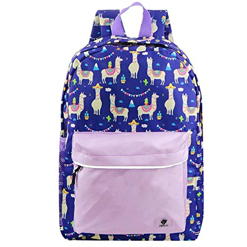 Preschool Backpack Girls by Fenrici, Durable, Water Resistant, 16 Inch, Perfect for Little Kids (Pink Llama)