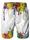 ALISISTER Costume Uomo Cool 3D Paint Splatter Stampa Pantaloncini Elastico in Vita Estate Costumi da Bagno Spiaggia Swim Trunks con Tasche Laterali L
