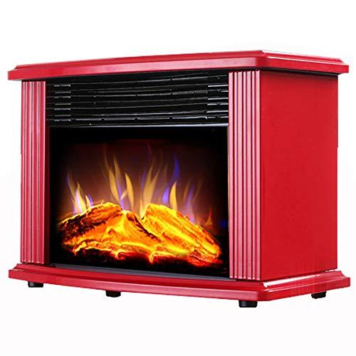 Dryers Calentador de Estufa de Chimenea Eléctrica de 1800 W con Efecto de Quemador de Leña de Registro con Efecto de Llama de Fuego, Portátil Independiente, 2 Configuraciones de Calor - Rojo