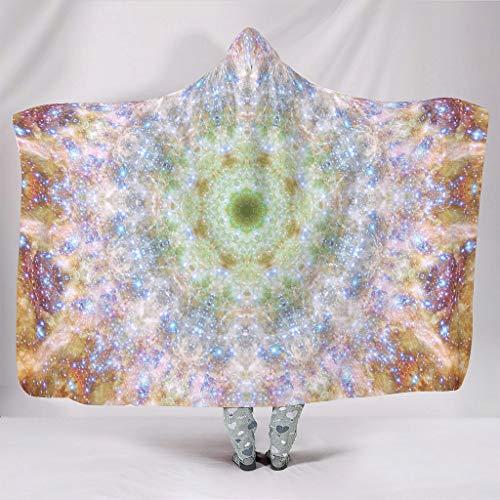 Wandlovers Manta psicodélica con impresión suave con capucha tradicional grande blanca 130 x 150 cm