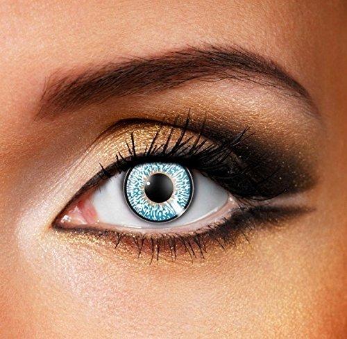 Funky Vision Kontaktlinsen 3 Tones - 12 Monatslinsen, Blue, Ohne Sehstärke, 1 Stück