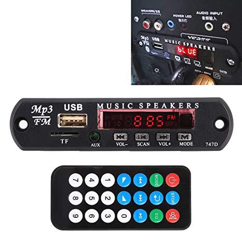 Yongenee Coche 12V Jugador Audio MP3 Decoder Junta de Radio de FM TF USB 3.5 mm AUX, sin Bluetooth y la grabación Duradero Herramientas
