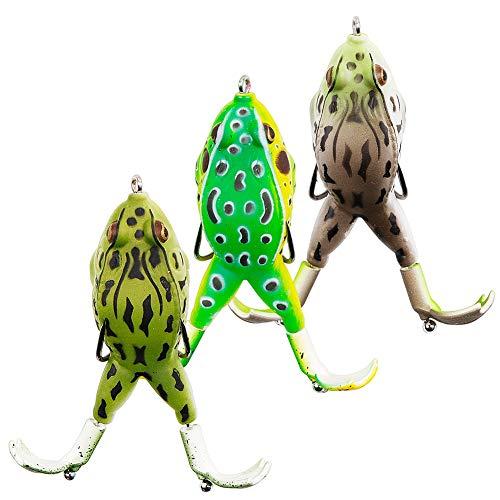 Angelköder Weiche 3D LLMZ 3 PCS Topwater Frosch-Angelköder Kunstköder Gummiköder für Fischen Angeln