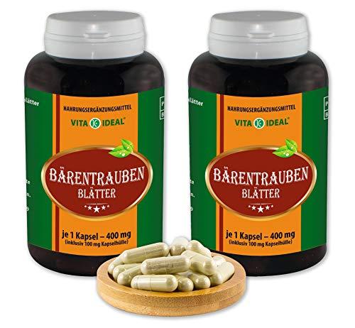 VITAIDEAL ® Bärentrauben Blätter (Uva Ursi) 2x180 Kapseln je 400mg, aus rein natürlichen Kräutern ohne Zusatzstoffe von NEZ-Diskounter