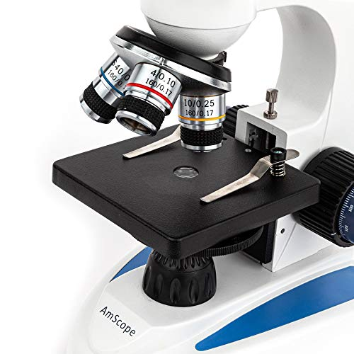 AmScope 40X-1000X Biology Science Metal Glass Student Microscope with USB Digital Imager