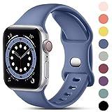 CeMiKa Compatible con Apple Watch Correa 38mm 42mm 40mm 44mm, Deportivas de Silicona Correas de Repuesto Compatible con iWatch SE Series 6 5 4 3 2 1, 38mm/40mm-S/M, Gris Azulado