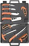 Ruko RUK0131 Wild for Game Processing Set with Orange Handles/Hard Nylon Case & Cutting Board (11 Piece)