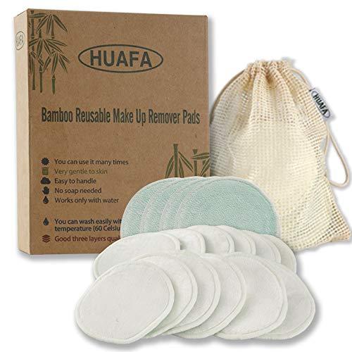 Almohadillas Desmaquillantes, HUAFA Discos Desmaquillantes Reutilizables Y Microfibra Lavable, Aptos para Pieles Sensibles, Con 1 Bolsa de Almacenar(12 Pcs)