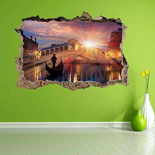 Pegatinas de pared Puente de la góndola Venecia 3D pegatinas de pared calcomanías murales decoración del hogar para niños 60×90CM