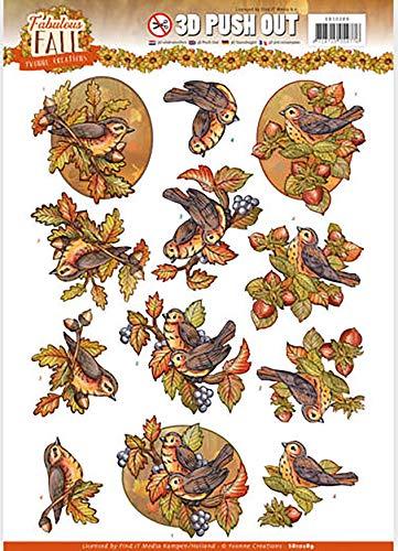 Yvonne Creations SB10289 Yvonne Stanzbogen für Herbstvögel, multi, Einheitsgröße