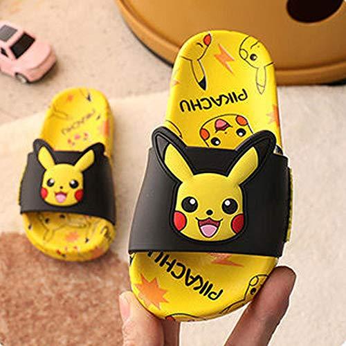 PERRTWDLF Sandales Douche Pikachu Chaussons pour Enfants garçons Filles été Maison Pokemon Sandales Salle de Bain antidérapante intérieur Chaussures-Jaune_33 (200mm)