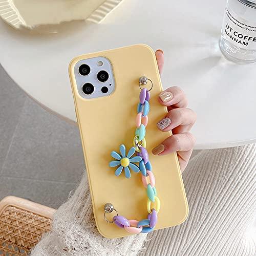 DEIOKL Funda Blanda para teléfono con Pulsera acrílica arcoíris 3D Sun Flower para iPhone 12 Pro MAX Mini X XR XS 11 Pro MAX 6S 7 8 Plus SE 2020 Funda, A, para iPhone 12pro