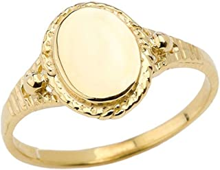 Enchanting 10k Yellow Gold Milgrain Engravable Oval Signet Ring