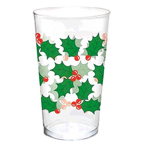 Holly Christmas Plastic Tumblers, 16 Oz., 25 Ct.
