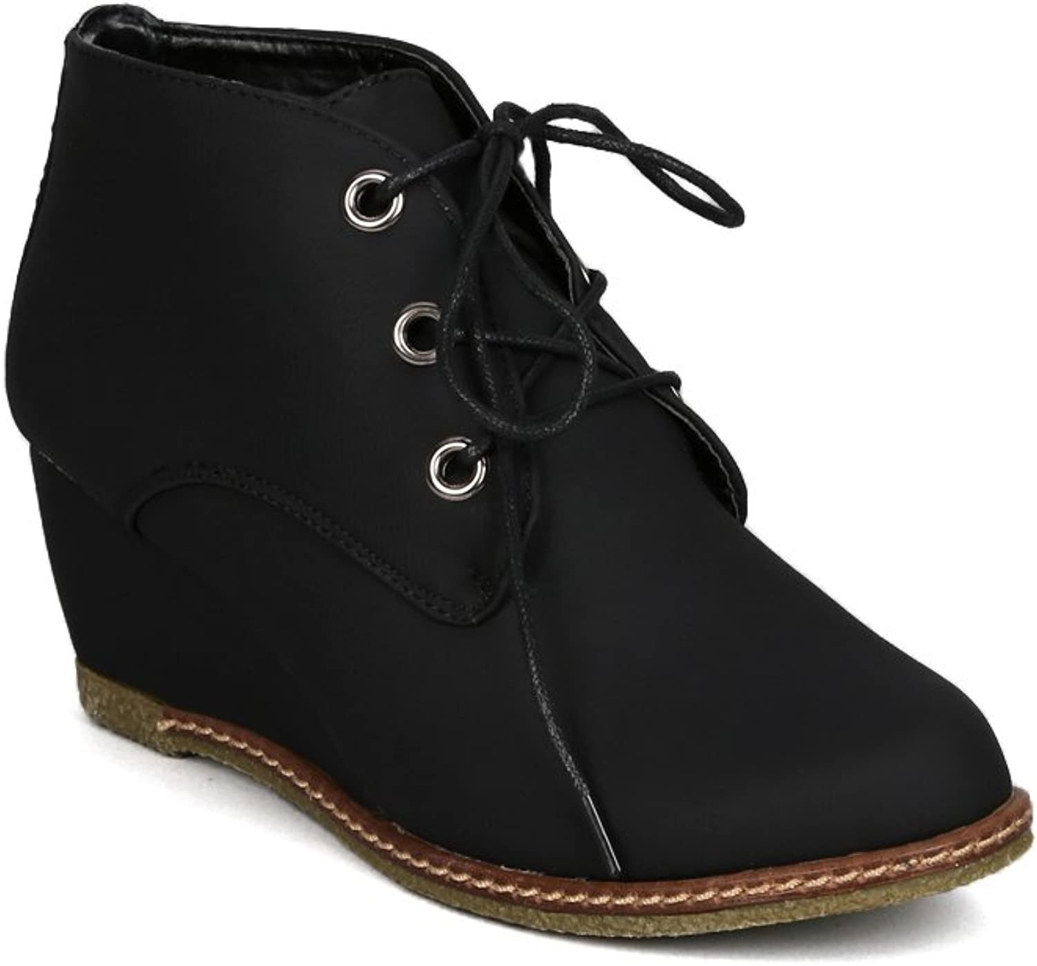 Nature Breeze AB64 Women Stitch Detail Lace up Designers Ankle Bootie Wedge - Black