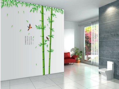 【ノーブランド品】ウォールステッカー 竹と鳥 大きいサイズ