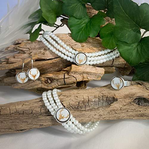 Handgemachte 3-reihige Perlen Kropfkette mit Hirschgeweih silber, Trachtenschmuck Set, Armband Ohrringe Ring, Dirndlschmuck Perlenkette Kropfband Tracht