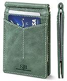 SERMAN BRANDS RFID Blocking Wallet Slim Bifold - Genuine Leather Minimalist Front Pocket Wallets for Men with Money Clip (Alpine Green Rogue)