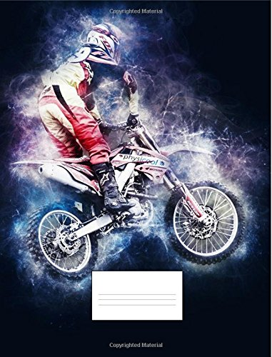 Motocross Composition Notebook: 150 Blank College Ruled Line Paper