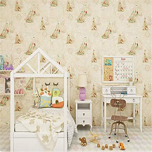 BIZI Wandtattoos Tapete Beige Blau Mittelmeer Segeln Kinderzimmer 3D Weltkarte Junge Mädchen Schlafzimmer Raumtapete,200 * 140 cm,