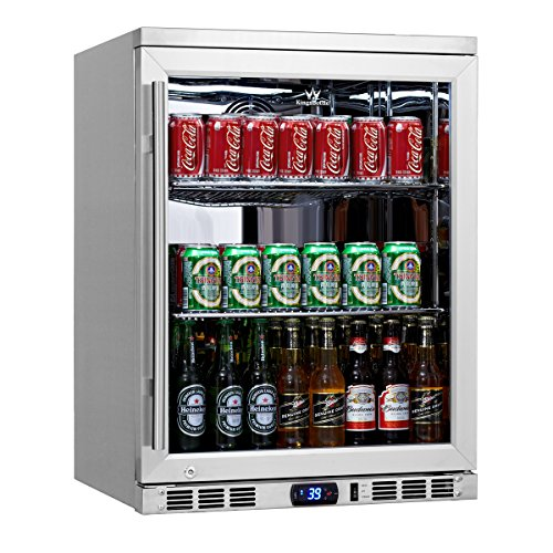 Best Price KingsBottle 169 Can 2-Door Under Counter Beverage Cooler with Heating Glass, Stainless Steel