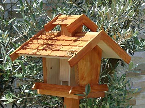 vogelhaus mit ständer, BTV-X-VOVIL4-MS-dbraun001 NEU PREMIUM Vogelhaus !!! KOMPLETT mit Ständer !!! wetterfest lasiert, Qualität Schreinerware 100% Massivholz – VOGELFUTTERHAUS MIT FUTTERSCHACHT-Futtersilo Futterstation Farbe braun dunkelbraun behandelt / lasiert schokobraun rustikal klassisch, MIT TIEFEM WETTERSCHUTZ-DACH für trockenes Futter - 4