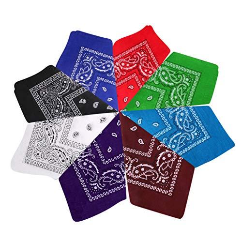 MOTOCO 3/6/7/8 Stück Bandana Halstücher Set für Frauen, Männer und Kinder Mischfarben Biker Kopftücher kann als Halstuch oder Schweißband(54X54CM.Grün8)