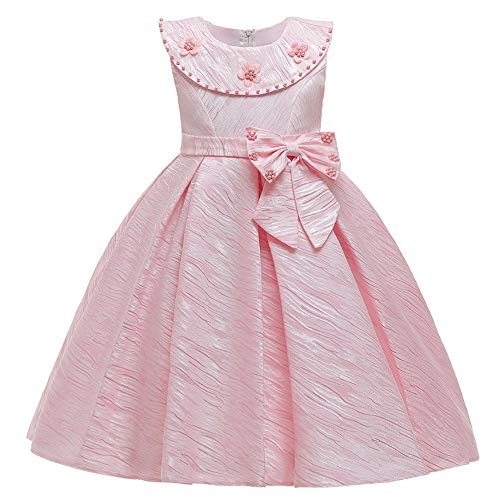Anoauit Nia de Las Flores con Cuentas Bowknot Vestido de nios Falda Vestido de Princesa Vestido de Noche de Pasarela de Las Flores Vestido de nia para Boda Cumpleaos Fiesta -Rosa_130cm