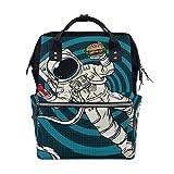 Mochila divertida para pañales con diseño de astronauta espacial de dibujos animados para mamá, bolsa de pañales de gran capacidad, para mujer, mochila de viaje, escuela, portátil, senderismo