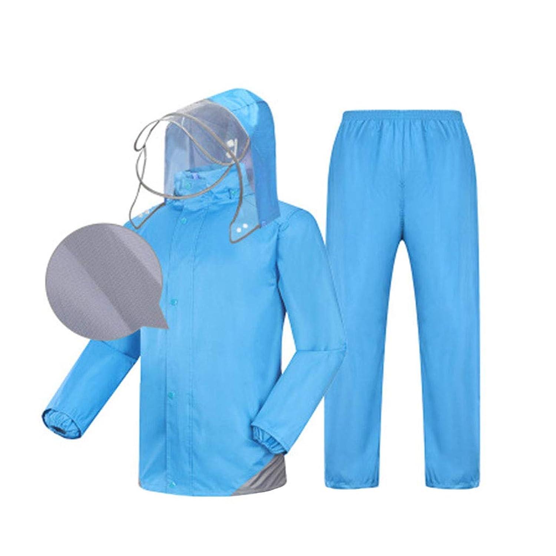 レインコート ユニセックススプリットスーツ (反射レインコート+防水レインコート) 通気性のダブル防水パッド入り釣り/アウトドアライディング 青