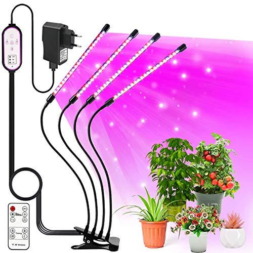 LEHXZJ Pflanzenlampe LED, 4 Heads Pflanzenlicht LED VOLLSPEKTRUM Wachsen Licht 80 LED Grow Light für Zimmerpflanzen mit Zeitschaltuhr