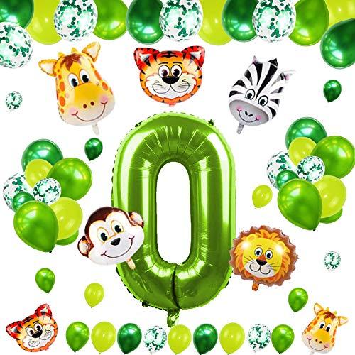 Sinwind 0 Geburtstag Dekoration Set, Luftballon 0 Geburtstag, 0 Jahre Kindergeburtstag Deko, Helium Riesen Zahlenballon 0, Grün Deko Nummer Ballon Geburtstag für Kinder, Junge, Mädchen