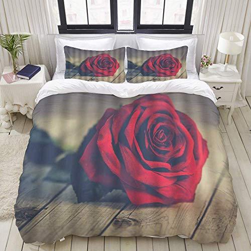 Funda nórdica, Rose Floral Valentine's Day Lonely Rose Twig sobre Tabla de Madera Romance Moderno, Juego de Cama Ultra cómodo, Ligero y Lujoso Juegos de Microfibra