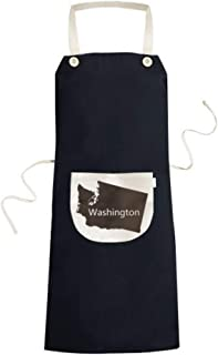 cold master DIY Washington The United States Of America USA Map Silhouette Cooking Kitchen Bib Aprons With Pocket for Women Men Chef Gifts 70cm x 67cm Black