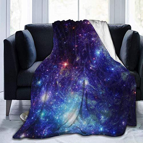 Manta Galaxy Space Stars ultra suave, manta de microforro polar, ligera, acogedora, cálida, duradera, para adultos y niños, manta de viaje de aire acondicionado, 201 x 152 cm