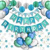 PushingBest decoración cumpleaños, 6 pañuelo de Papel, Pompones 30PCS Globos...