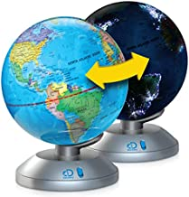 Discovery Kids 2-in-1 World Globe LED Lamp w/Day & Night Modes, STEM Geography Map Educational Toy for Children, Solar System, Light Up Cities and Countries, Rotating w/Display Stand