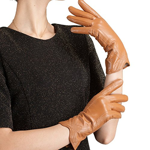 Nappaglo Nappa Leather Gloves Warm Lining Winter Handmade Curve Imported Leather Lambskin Gloves for Women (M, Khaki)